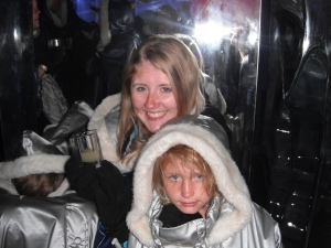 Lindsey and Lilly try to stay warm in Ice Bar