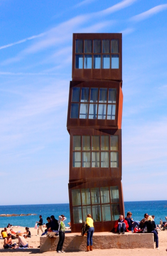 Great stacking boxes sculpture on beach