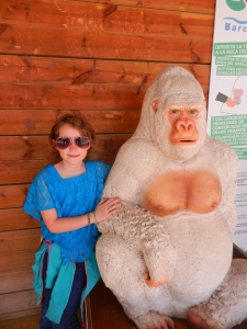 "Lilly with a sculpture of ""Snowflake"" Barcelona's albino gorilla"