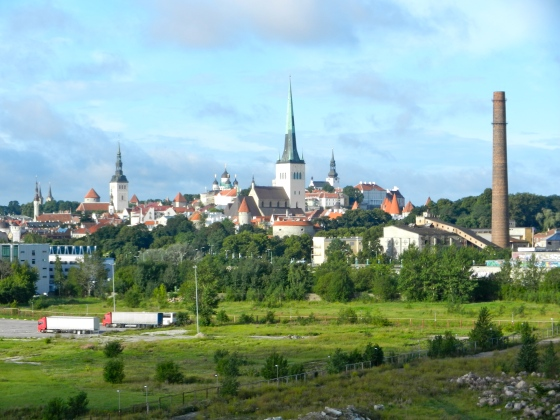 the city comes into view from our cabin, Talinn Estonia