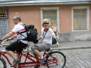 Talinn is a great city to rent a bicycle built for two