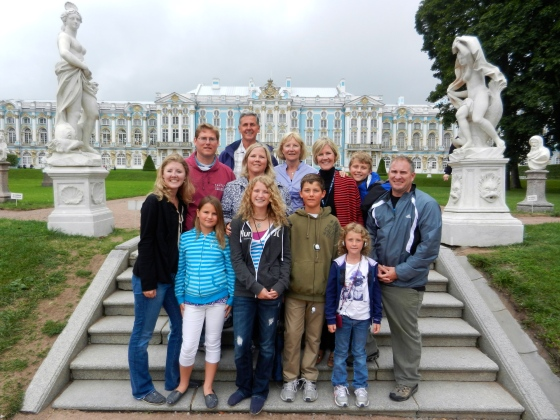 Our family pic at St Petersberg's Winter Palace