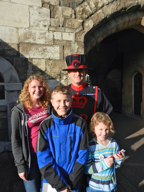 The kids pose with their favorite beefeater, Tower of London