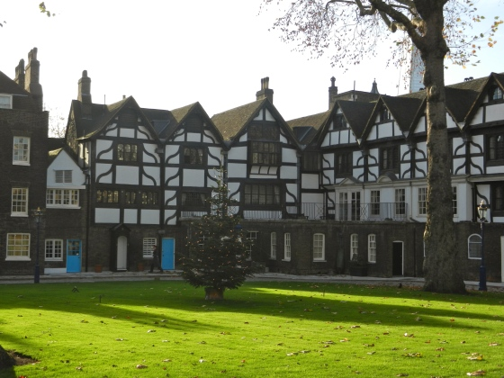Tower Green, view of Tudor buildings across the lawn