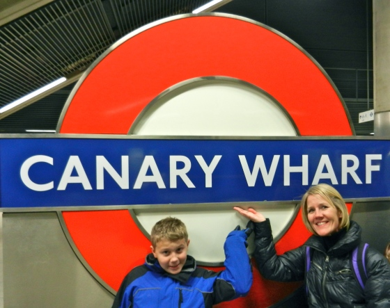 Our Stop--Canary Wharf sign
