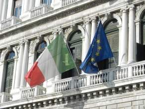 Italian flag and EU flag