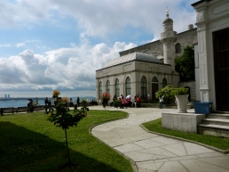 Topkapi Palace with view of Bosphorus in distance