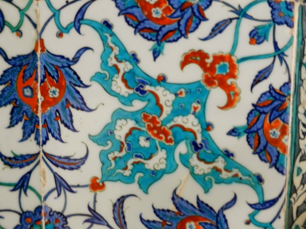 These Turkish tiles have vivid turquoise and blue colors
