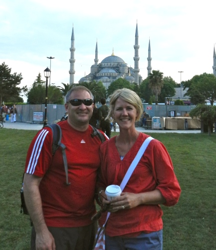 Hanging out in front of the Blue Mosque, Istanbul