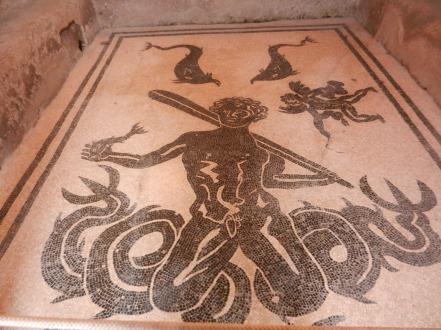 Mosaic image in Men's Bath, Pompeii