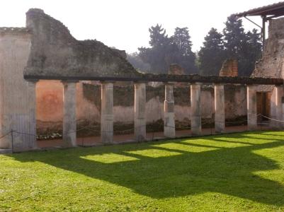 Pompeii columns across inner courtyard