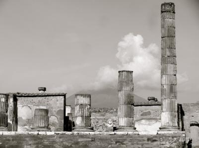 Smoke billows from Vesuvius, Pompeii Forum