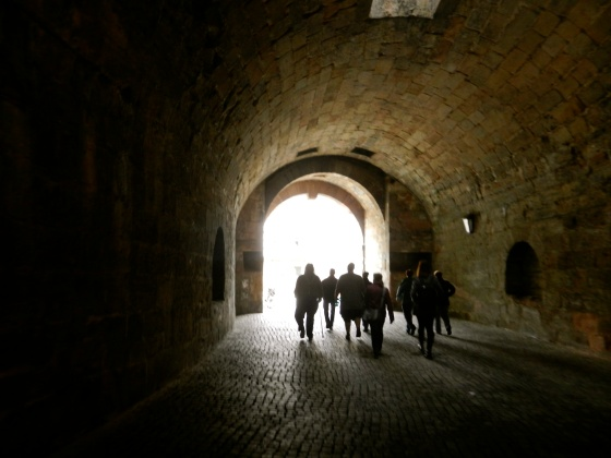 Walking through medieval wall to the city
