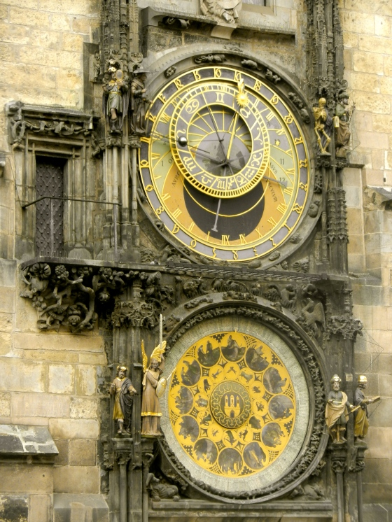 The intricate astronomical clock in Old Towne Prague