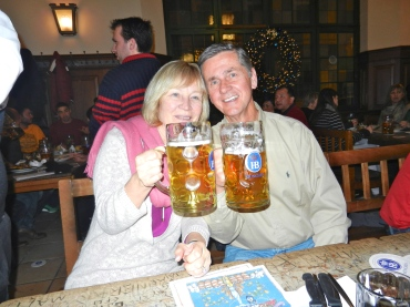 A stop at Hofbrauhaus for a liter of beer after our day of exploring
