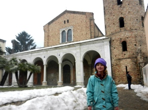 Lilly outside one of the Ravenna churches