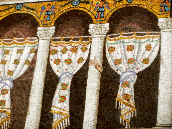 Fancy mosaic curtains created to hide the saints orginally depicted in this scene