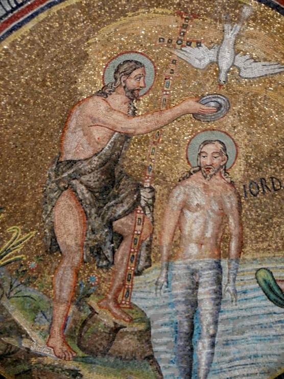 John the Baptist baptizes Jesus...great mosaic water