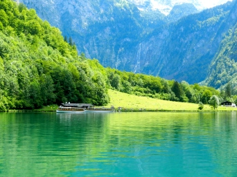 Emerald green waters smooth as glass