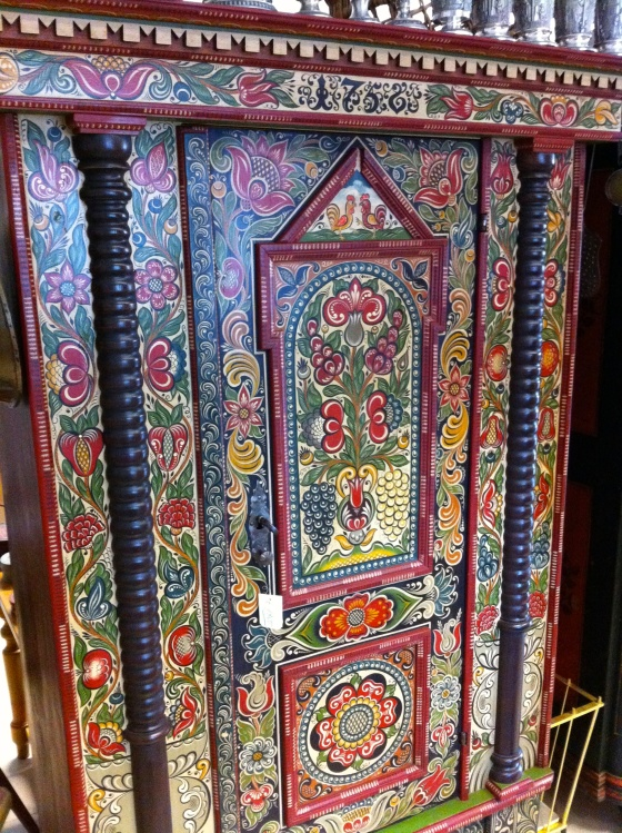 The coveted German antique....a painted cabinet. This one has been restored but the colors are out of this world