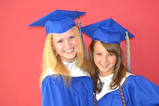 Lauren Rietkerk and Lauren Sink, AKA Lo La, the happy graduates