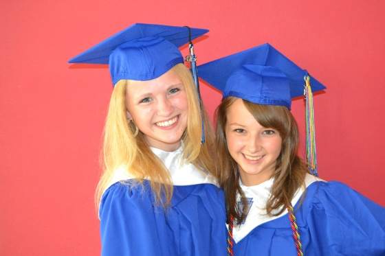 Lauren Rietkerk and Lauren Sink, AKA Lo La, the happy graduates