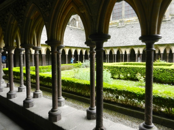 Mont St Michel abbey courtyard