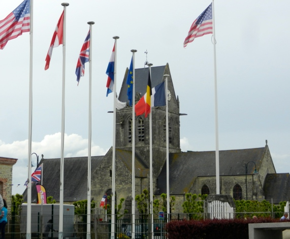 View of the famous church in st mere Eglise