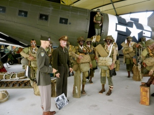 Static display of Eisenhower encouraging the airborne soldiers prior to their jump