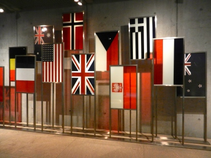 Flags of the Allies on display at American cemetery