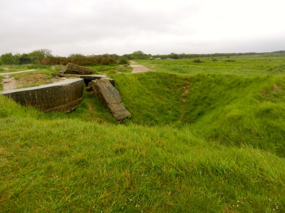 Typical depression crater that surrounds the countryside near Normandy invasion sites