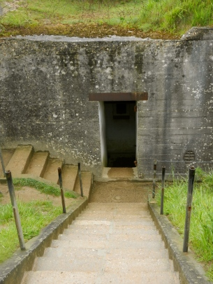 Entry to one of the German bunkers, Point du Hoc
