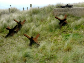 Metal obstacles placed on the shore to deter Allies during invasion