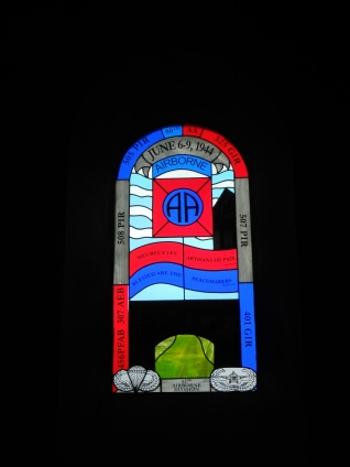 Stained glass in the small chapel in St Mere Eglise
