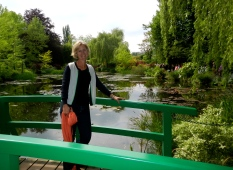 I just couldn't resist posing for a picture on the smaller bridge at Monet's pond
