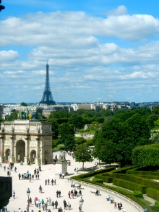 Arc de Triomphe and Eiffel Tower as seen from the Louvre