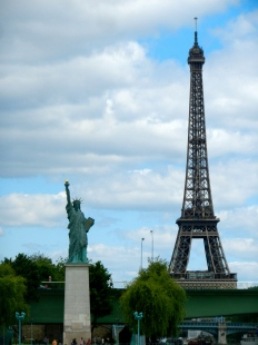 Statue of Liberty and Eiffel Tower