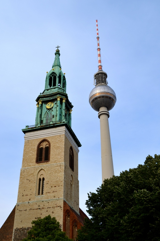 I love the juxtaposition of old and new...here, Mariankirche and the Fernsehrtower