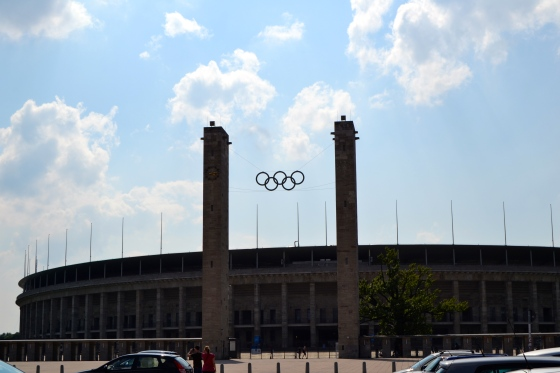 The imposing entrance towers of the Olympic Stadium