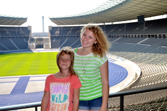 Admiring the perfectly green field of the Berlin Olympic Stadium and imagining Jesse Owens claiming the gold medal