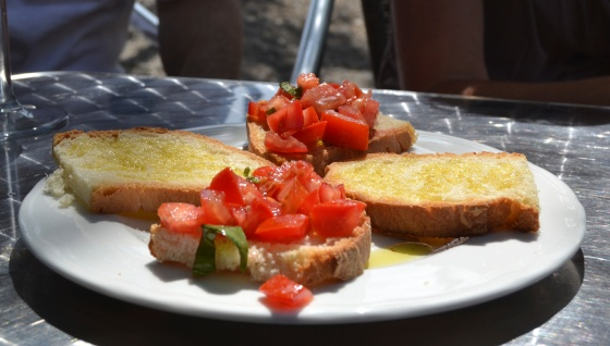 mmm, fresh tomatoes make the best bruschetta. Our mid-morning snack