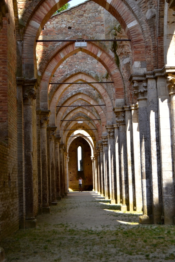 The perfectly symmetrial Roman arches of the abbey