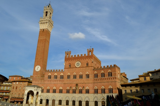 The main square in Siena is anchored by this great tower and town hall