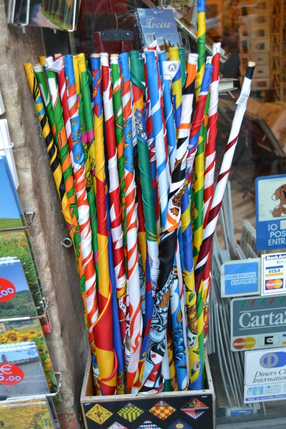 every shop sells flags for the 17 different Siena neighborhoods