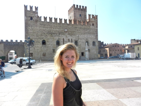 Lindsey poses on the giant chessboard, Marostica