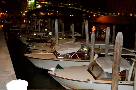 Venice at night...boats tucked into their watery beds until morning