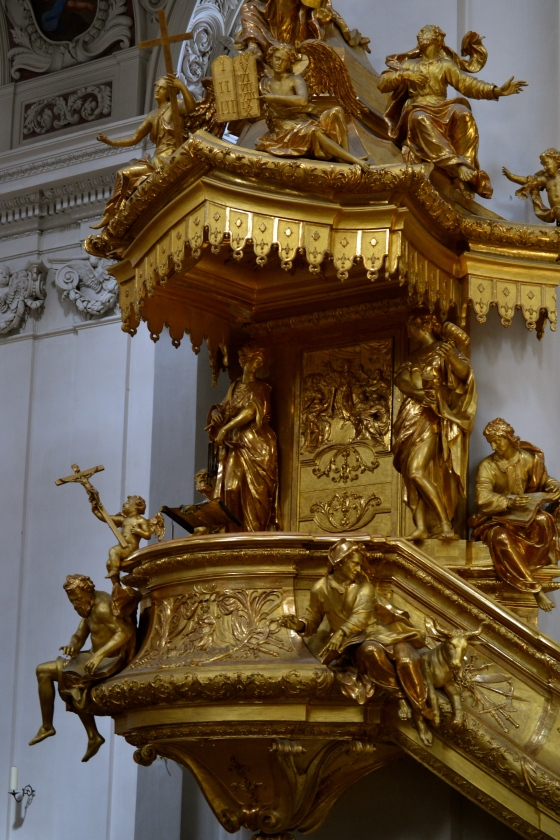 The gold-leaf pulpit with lots of saints and cherubs to cheer you up