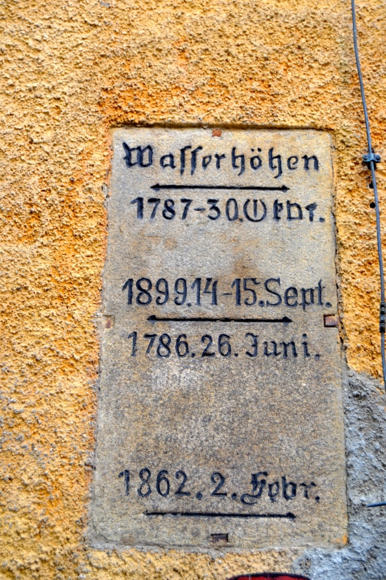 The buildings in Passau often include these plaques marking high water for different floods
