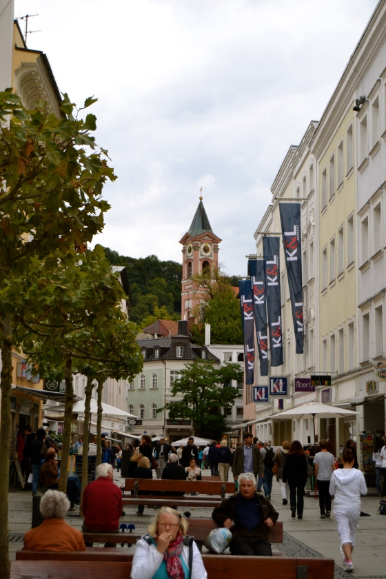 Bustling market street in Passau..great, high end stores