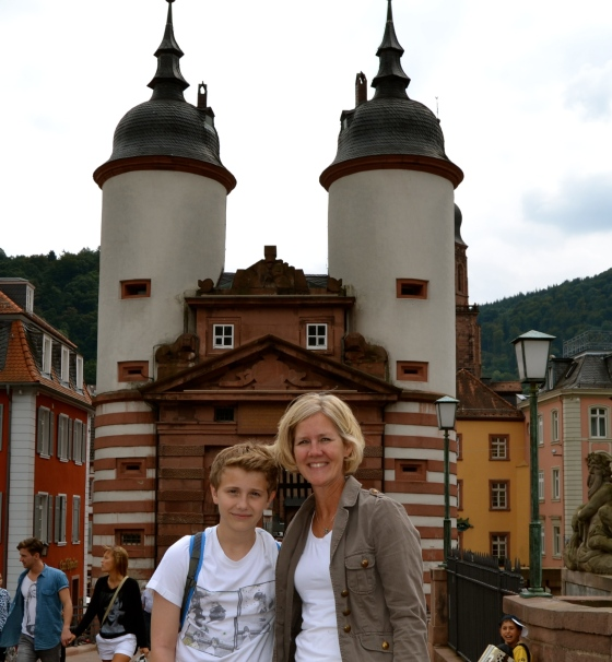 Will and Kristen, old bridge gate, leading to the town of Heidelberg